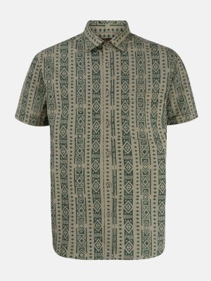 Olive Green Printed Cotton Shirt