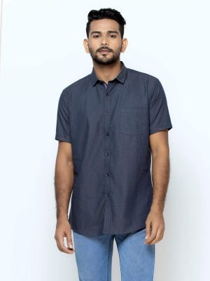 Midnight Blue Mixed Cotton Fitted Shirt