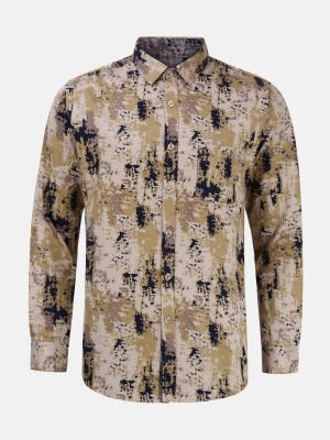 Multicolour Printed Mixed Cotton Fitted Shirt
