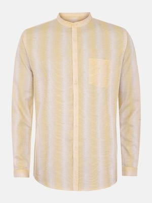 Yellow Mixed Cotton Fitted Shirt
