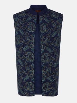 Deep Blue Embroidery Cotton Coaty