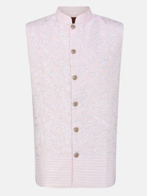 Powder Pink Embroidered Cotton Coaty