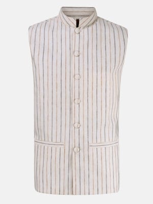 Beige Striped Mixed Cotton Coaty
