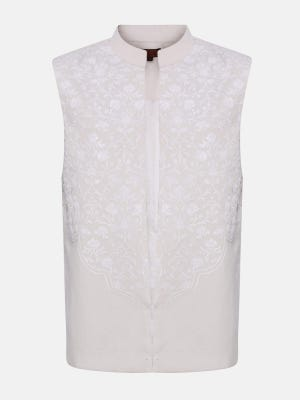 Ivory Embroidered Cotton Coaty