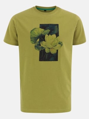 Olive Green Printed Cotton T-Shirt
