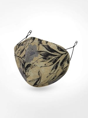 Men 3 Layer Olive Green Printed Cotton Round Mask
