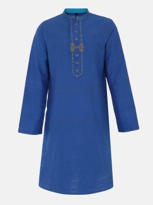 Blue Embroidered and Printed Silk-Cotton Panjabi