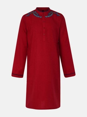 Red Embroidered Cotton Panjabi