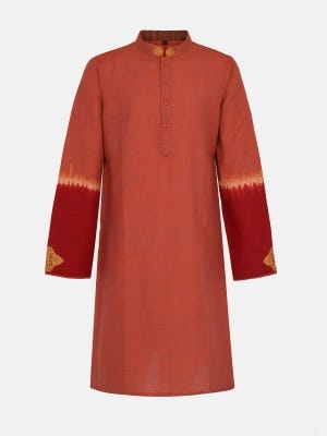 Light Brick Red Tie-Dyed and Embroidered Handloom Cotton Panjabi