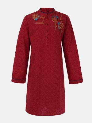 Red Printed Embroidered Cotton Panjabi
