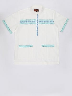 Ivory Printed and Embroidered Cotton Fatua