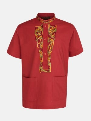 Red Printed and Embroidered Cotton Fatua