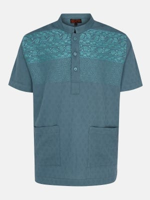 Teal Printed and Embroidered Cotton Fatua