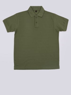 Olive Green Cotton-Polyester Polo Shirt
