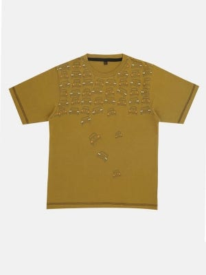 Olive Printed Cotton T-Shirt