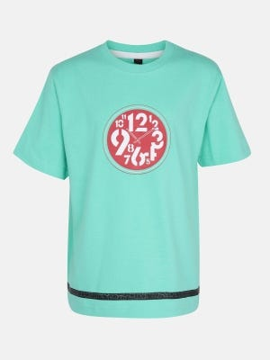 Turquoise Printed Cotton T-Shirt