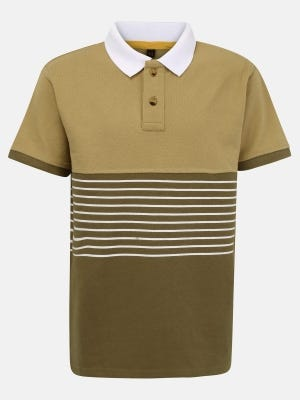 Olive Printed Mixed Cotton Polo Shirt