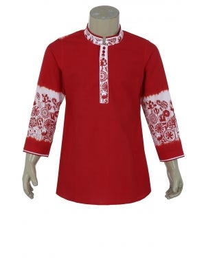 Red Tie-Dyed and Printed Cotton Panjabi