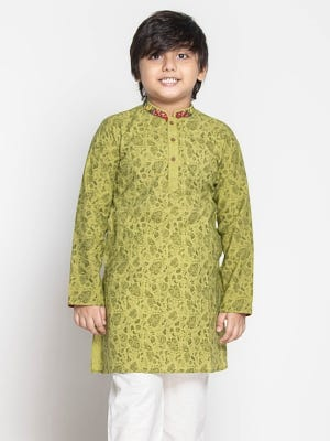 Olive Green Printed and Embroidered Cotton Panjabi