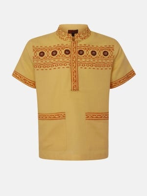 Pastel Yellow Printed and Embroidered Cotton Fatua