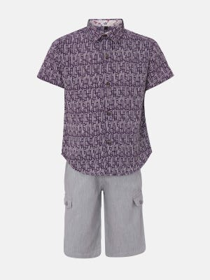Deep Purple Printed Cotton Shirt Pant Set