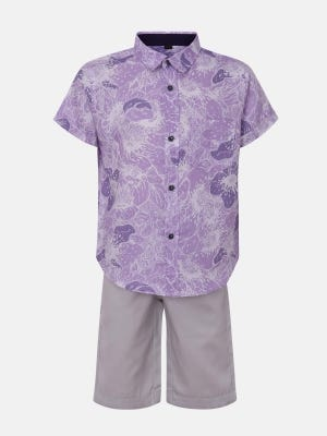 Lavender Printed Cotton Shirt Pant Set