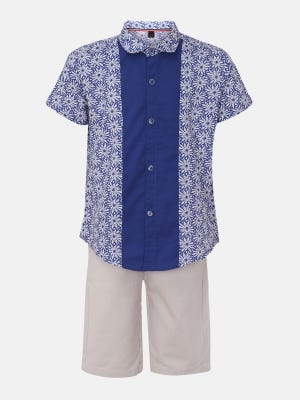 Blue Printed Cotton Shirt Pant Set