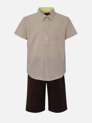 Multicolour Check Cotton Shirt Pant Set