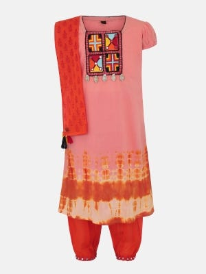 Salmon Tie-Dyed and Embroidered Linen Shalwar Kameez Set