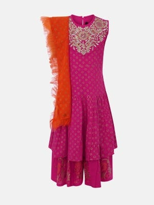Fuchsia Printed and Embroidered Linen Shalwar Kameez Set