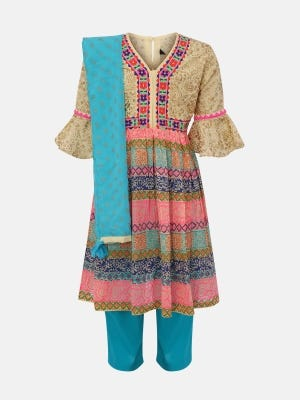 Light Yellow Printed and Embroidered Linen Shalwar Kameez Set