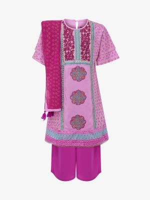 Pink Printed and Embroidered Linen Shalwar Kameez Set