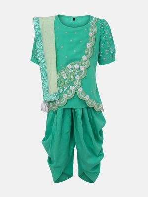 Pastel Green Printed and Embroidered Linen Shalwar Kameez Set