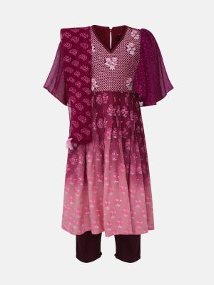 Mauve Printed and Tie-Dyed Linen Shalwar Kameez Set