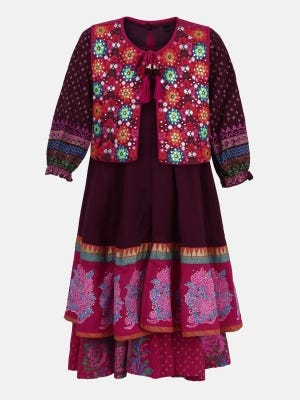 Plum Printed and Embroidered Linen Shalwar Kameez Set with Coaty