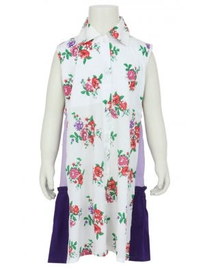 White Printed Linen Frock