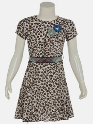 Ivory Printed Mixed Cotton Frock