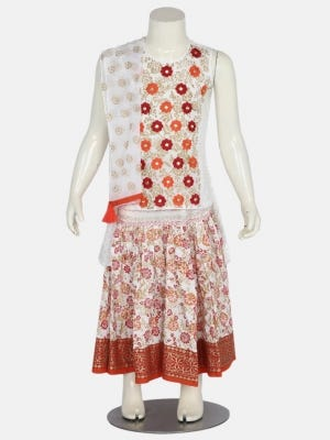 White Printed and Embroidered Linen Ghagra Choli Set