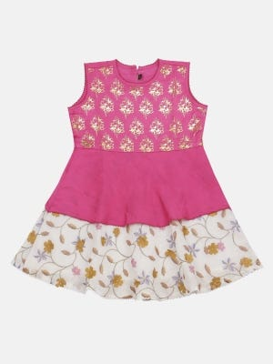 Pink Embroidered Mixed Silk Frock