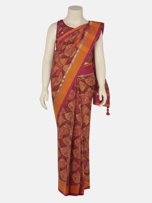Red Printed Voile Saree