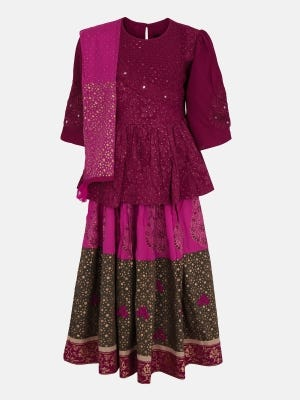 Maroon Printed and Embroidered Linen Ghagra Choli Set