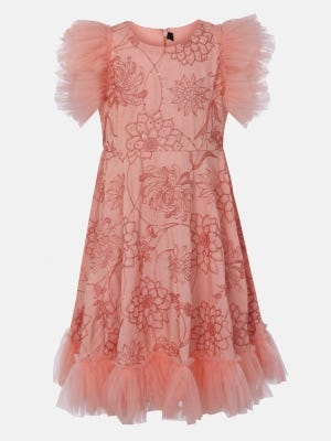 Peach Embroidered Linen Dressy Frock