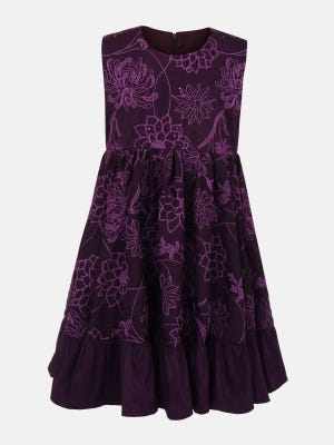 Purple Embroidered Mixed Silk Party Frock