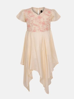 Beige Embroidered Mixed Cotton Frock