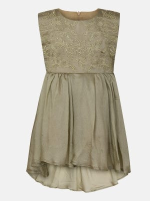 Gold Embroidered Mixed Cotton Frock