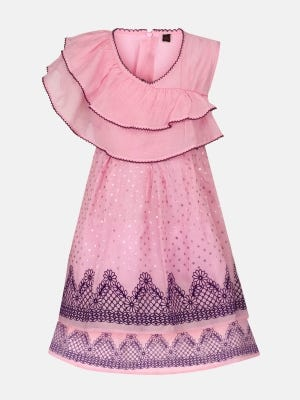 Pink Printed and Embroidered Mixed Cotton Dressy Frock