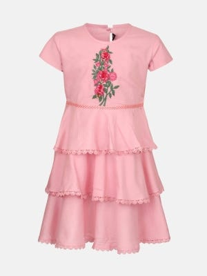 Peach Embroidered Cotton Frock