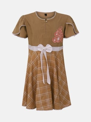 Light Brown Printed and Embroidered Cotton Frock