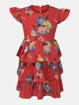 Strawberry Red Printed Mixed Fabric Frock