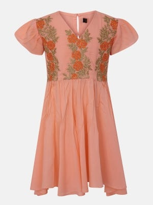 Peach Embroidered Linen Frock